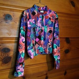 Vintage Ozark Mountain Floral Rodeo Button Top